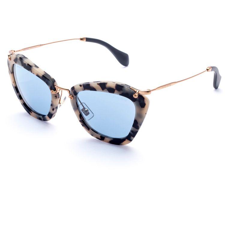 6bd9ca15e037d Oculos de sol Miu Miu 10NS Havana Espelhado Azul Original - oticaswanny