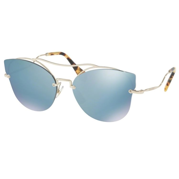 47a3d1217bf40 Oculos de sol Miu Miu 52S Azul Espelhado Original - oticaswanny