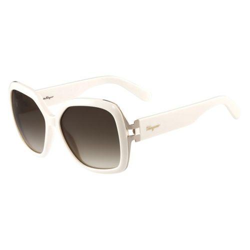 54232345f7b70 Oculos de Sol Salvatore Ferragamo 781 Branco Marfim - oticaswanny