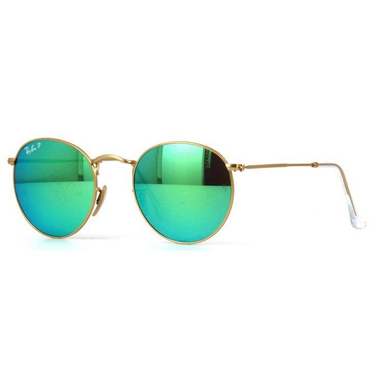Oculos de Sol Ray Ban Round 3447 Verde Espelhado - oticaswanny 3178da2bd0