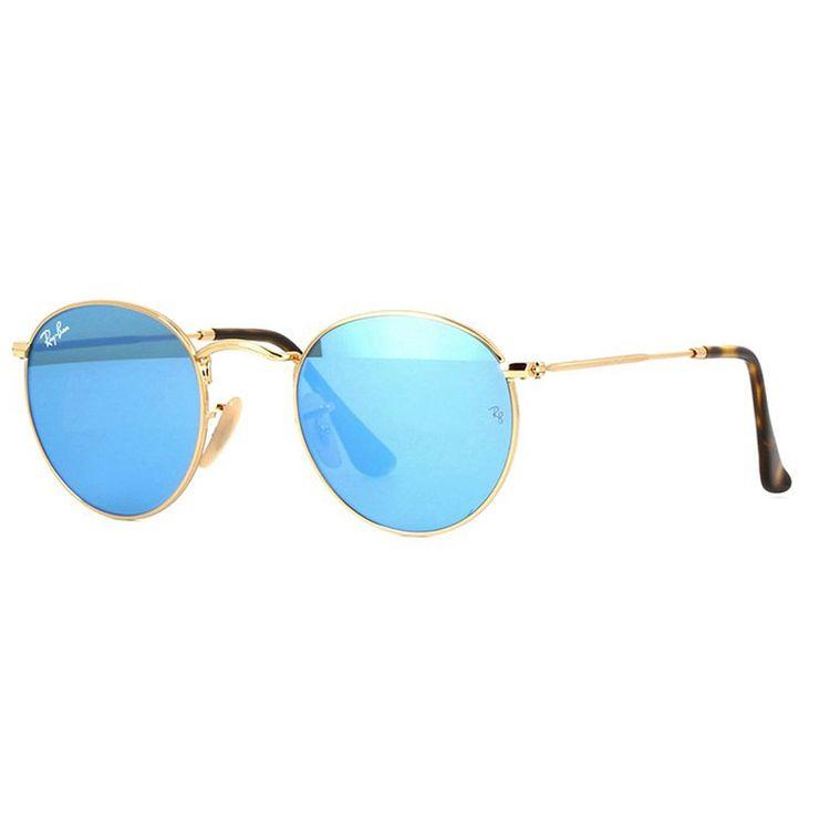 4532cd63dcade Oculos de Sol Ray Ban Round 3447N Dourado Azul Espelhado - oticaswanny