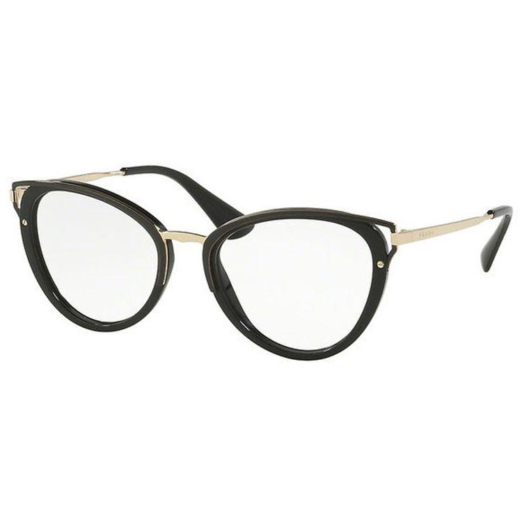 Oculos de grau Prada 53UV Preto Gatinho - oticaswanny a0c60aa678